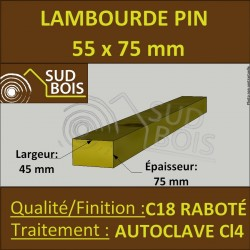 ► Chevron Lambourde 55X75mm Pin Autoclave Marron Cl.4 Raboté au ml