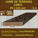 Lame Terrasse 28x145mm PREMIUM Douglas Autoclave Marron Lisse 3m