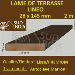 Lame Terrasse 28x145mm PREMIUM Douglas Autoclave Marron Lisse en 2m