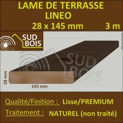 Lame de Terrasse Bois LINEO 28x145 Douglas Naturel Hors Aubier Choix Premium 3m