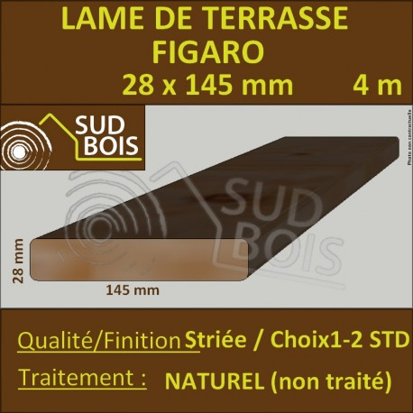 Lame Terrasse FIGARO 28x145mm Douglas Naturel Striée 4m