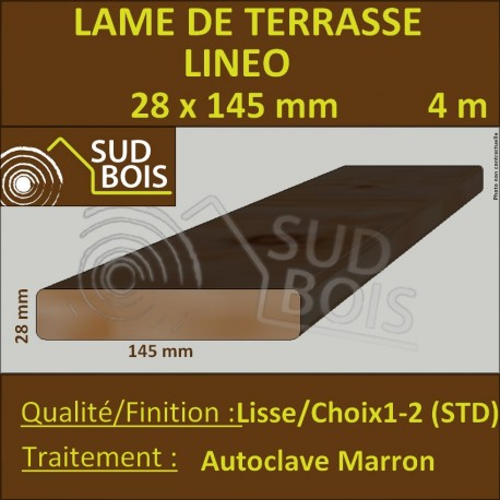 Lame Terrasse Lineo 28x145mm Douglas Autoclave Marron Lisse 4m