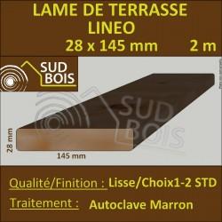 Lame Terrasse 28x145mm Douglas Autoclave Marron Lisse 2m