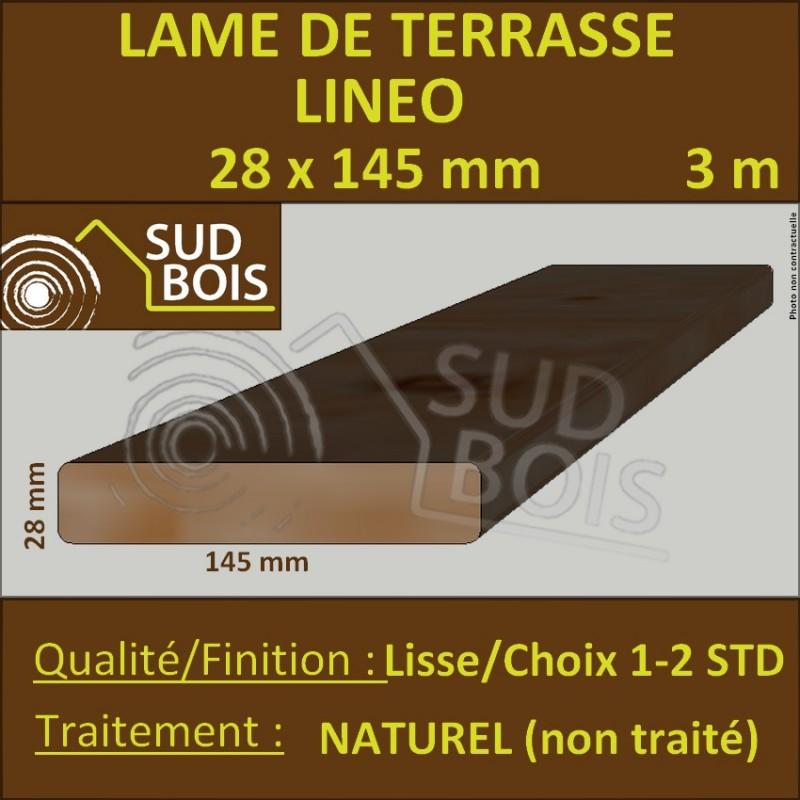 lame de terrasse bois lineo 28x145mm douglas naturel lisse 3m sud bois terrasse bois. Black Bedroom Furniture Sets. Home Design Ideas