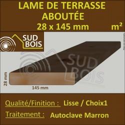Lame Terrasse ABOUTÉ 28x145mm Douglas Autoclave Marron Lisse PRIX AU M²