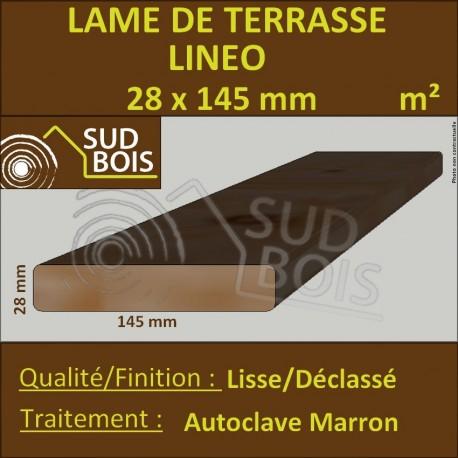 Lame Terrasse 28x145 Douglas Autoclave Marron Déclassé Prix au m²