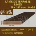 Lame Terrasse LINEO 28x145mm Douglas Naturel Choix 2-3 Lisse 0.98 m