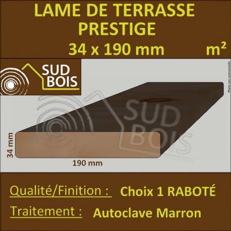 Lame Terrasse PRESTIGE 34x190mm Douglas Autoclave Marron au m²