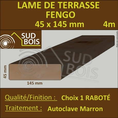 Lame Terrasse FENGO 45X145mm Douglas Autoclave Marron Choix 1 en 4m
