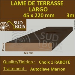 Lame de Terrasse LARGO 45X220mm Douglas Autoclave Marron Choix1 3m