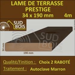 Lame de Terrasse Bois PRESTIGE 34x190 Douglas Autoclave Marron 2nd Choix 4m