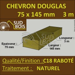Solive / Bastaing 75x145mm Douglas Raboté Naturel 3m