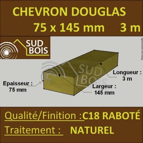 Solive / Bastaing 75x145mm Douglas Raboté Naturel 3m