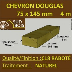 Solive / Bastaing 75x145mm Douglas Raboté  Naturel 4m