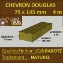 Solive / Bastaing 75x145 Douglas Naturel Sec Raboté Qualité Charpente 4m
