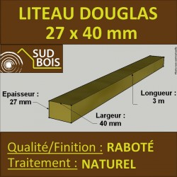 Botte de 15 Liteaux / Tasseaux 25x42mm Douglas Naturel Raboté 3m