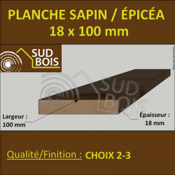 * 308 Planches Voliges 18x100 Résineux Brut Traité Cl. 2 Jaune 2m