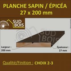 *110 Planches 27x200 Résineux Brut Traité Cl. 2 Jaune 3m