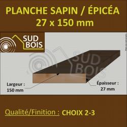 *154 Planches 27x150 Résineux Brut Traité Cl. 2 Jaune 3m