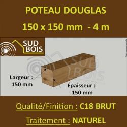Poteau / Poutre 150x150 Douglas Naturel Sec Brut Qualité Charpente 4m
