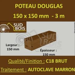 Poteau / Poutre 150x150 Douglas Autoclave Marron Sec Brut Qualité Charpente 3m