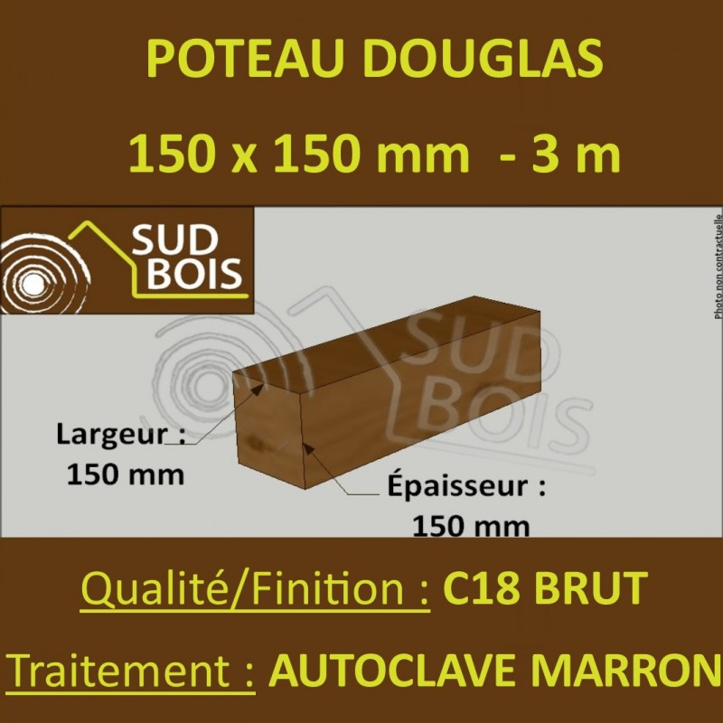 poteau poutre 150x150mm douglas autoclave marron brut 3m. Black Bedroom Furniture Sets. Home Design Ideas