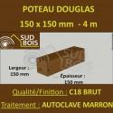 Poteau / Poutre 150x150 Douglas Autoclave Marron Sec Brut Qualité Charpente 4m