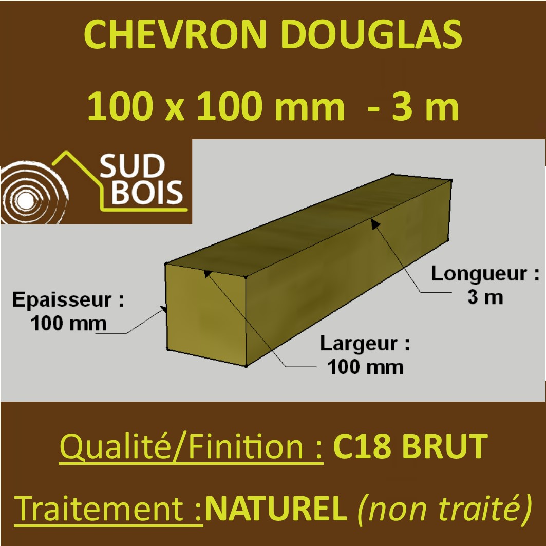 Tasseau Bois Exotique Exterieur * palette de 33 chevrons 100x100 douglas naturel brut 3m
