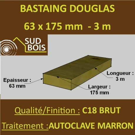 *Palette de 30 Chevrons 63x175 Douglas Autoclave Marron Brut 3M
