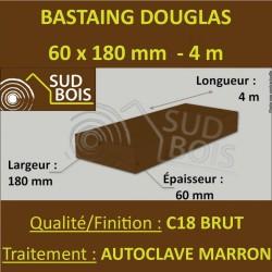 Bastaing / Madrier 60x180 Douglas Autoclave Marron Sec Brut Qualité Charpente 4m