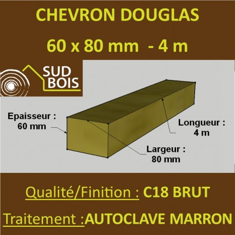 *Palette de 70 Chevrons 60x80 Douglas Autoclave Marron Brut 4M