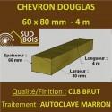 * Palette de 70 Chevrons 60x80 Douglas Autoclave Marron Brut 4M