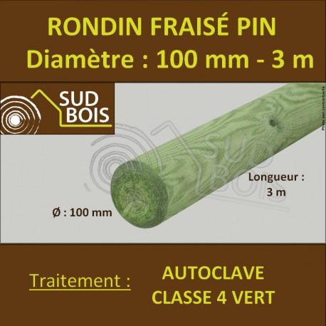 *Rondin Bois Fraisé Pin Autoclave Classe 4 Diamètre 100mm 3m