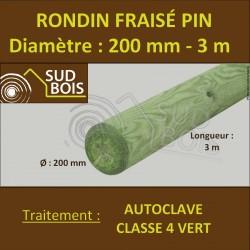 ♦ * Rondin Bois Fraisé Pin Autoclave Classe 4 Diamètre 200mm 3m