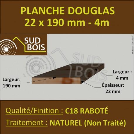Planche 22x190 Douglas Naturel Raboté Choix 3-4 en 4m
