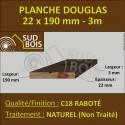 Planche 22x190 Douglas Naturel Raboté Choix 3-4 en 3m