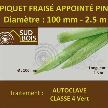 *Piquet Fraisé Appointé Pin Autoclave Classe 4 Diamètre 100mm 2.5m