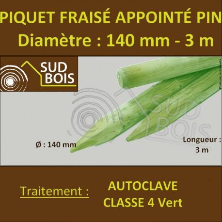 Piquet Fraisé Appointé Pin Autoclave Classe 4 Diamètre 140mm 3m