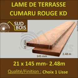 PROMO Lame de Terrasse Cumaru KD 21x145 Lisse 2 Faces 2.45m / 2m45