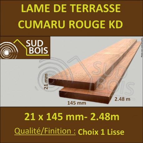 Lame de Terrasse Cumaru Rouge KD 21x145 Lisse 2 Faces en 2.48m