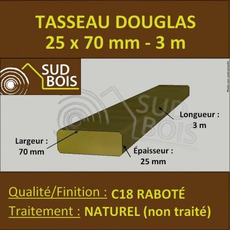 Tasseau 25x70mm Douglas Sec Naturel Raboté Chanfreinés 3m