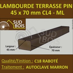 Lambourde pour Terrasse 45X70 Pin Traité Autoclave Cl.4 Prix / ml