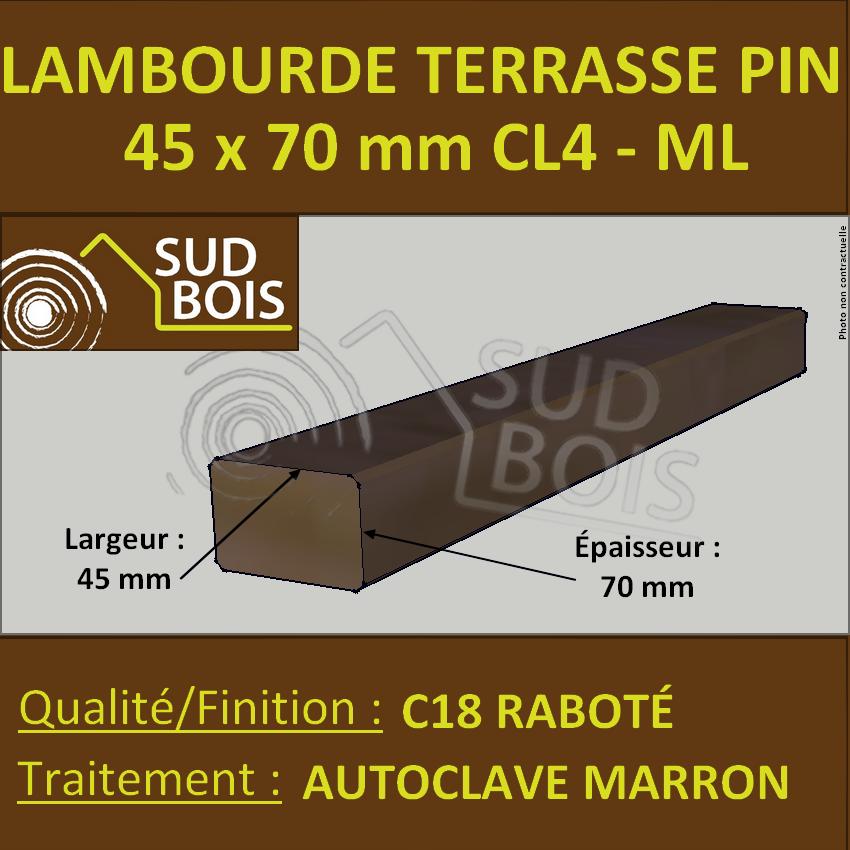Lambourde Pour Terrasse 45x70 Pin Traite Autoclave Cl 4 Prix