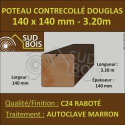 Poteau Contre-Collé 140x140 Douglas Autoclave Marron Raboté 3.20m