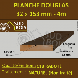 Planche 32x153 mm Douglas Naturel Choix 2-3 Sec Brut 4m