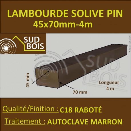 Lambourde Terrasse 45X70 Pin Traité Autoclave Marron Cl4 Raboté 4m