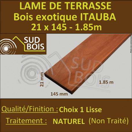 Lame de Terrasse Bois Exotique ITAUBA Lisse 21x145 en 1.85m