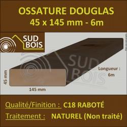 Ossature 45x145 Bois Massif Abouté Douglas Naturel Sec Raboté 6.50m