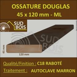 ► Bois Ossature 45x120 Sec Raboté Douglas Autoclave Marron Prix / ml