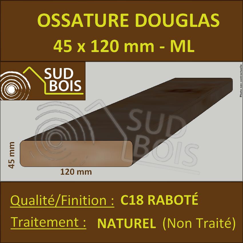 Montant Bois Ossature 45x120 Sec Raboté Douglas Naturel